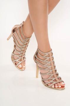 Gold sandals with crystal embellished details