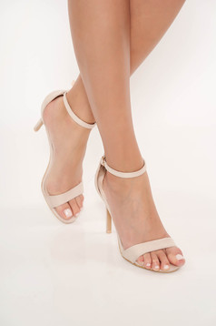 Nude sandals occasional from ecological leather with thin straps with high heels
