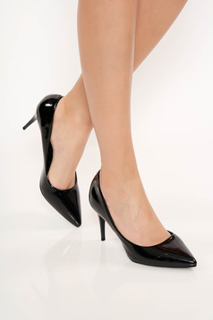 Black shoes from ecological varnished leather elegant slightly pointed toe tip with high heels