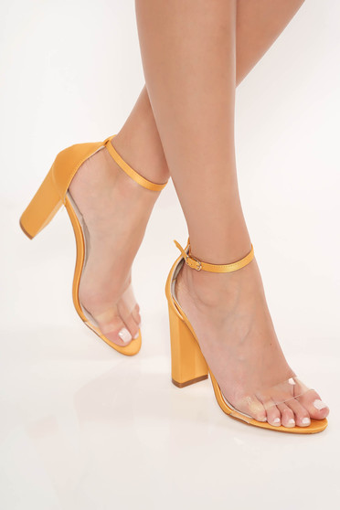 Mustard elegant sandals from ecological leather with thin straps chunky heel