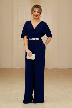 StarShinerS darkblue occasional long jumpsuit short sleeve with v-neckline flaring cut with embellished accessories
