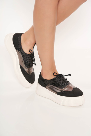 Black sneakers with lace casual from ecological leather