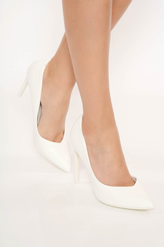 White elegant shoes with high heels slightly pointed toe tip