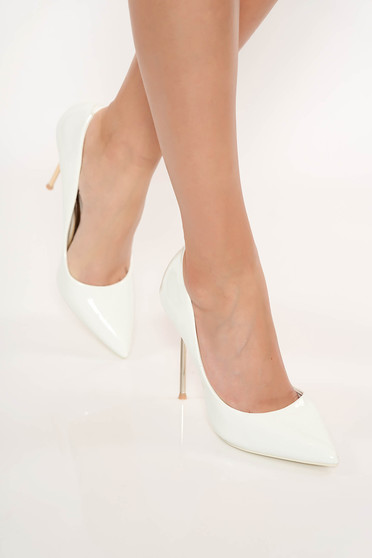 White elegant shoes from ecological varnished leather slightly pointed toe tip with high heels