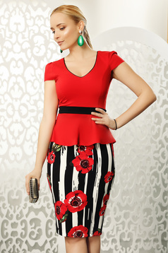 Fofy red skirt office midi with tented cut from elastic fabric high waisted