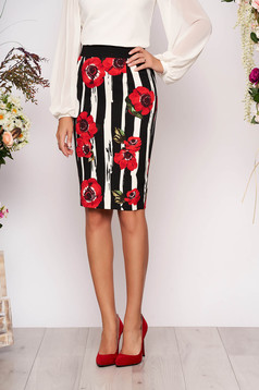 Red skirt office midi with tented cut from elastic fabric high waisted
