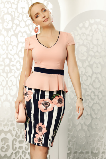Lightpink skirt office midi with tented cut from elastic fabric high waisted
