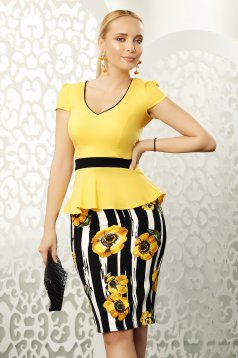 Mustard skirt office midi with tented cut from elastic fabric high waisted