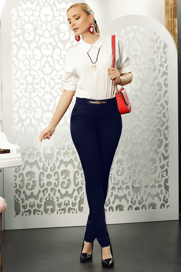 Darkblue trousers office conical slightly elastic cotton with metalic accessory elegant
