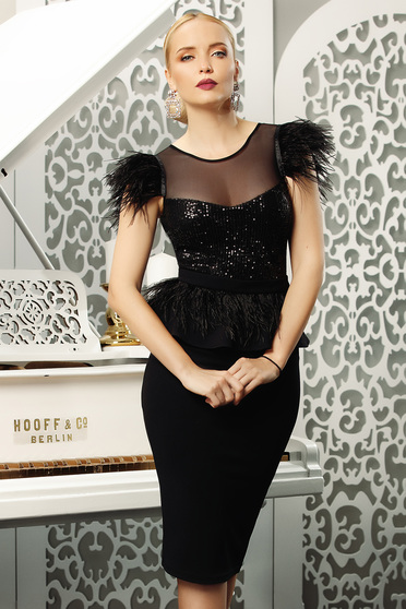 Fofy black dress occasional pencil frilled feather details midi