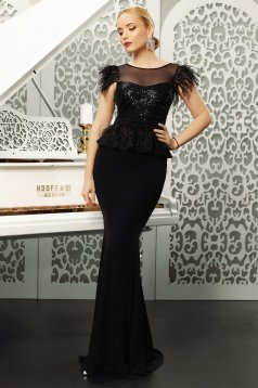 Fofy black dress occasional mermaid with sequin embellished details accessorized with tied waistband