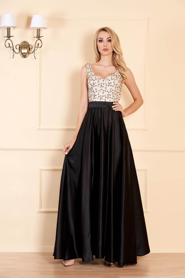 Black dress occasional cloche from satin with sequins sleeveless with v-neckline