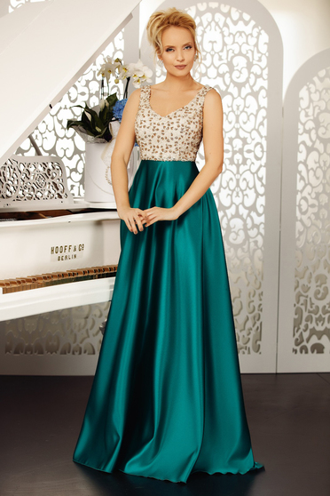 Darkgreen dress occasional cloche from satin with sequins sleeveless with v-neckline