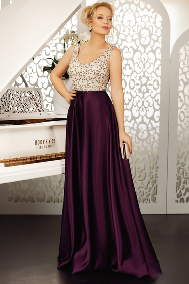 Purple dress occasional cloche from satin with sequins sleeveless with v-neckline