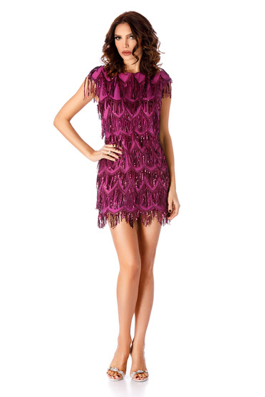 Purple dress occasional short cut with sequins with inside lining with tented cut