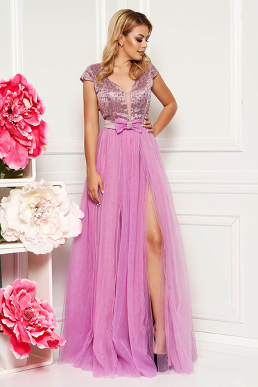 Artista lila occasional long cloche dress bareback with push-up cups