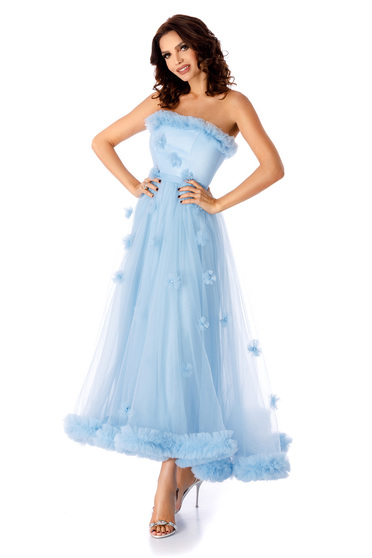 Lightblue dress occasional long cloche off-shoulder flaring cut