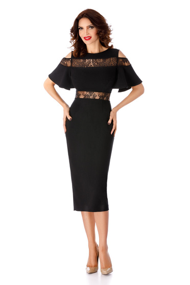 Black dress occasional midi pencil with lace details