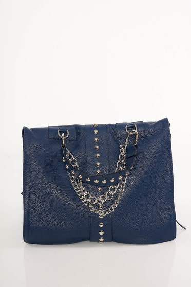 Darkblue bag casual with metallic spikes