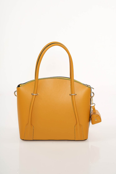 Mustard office bag natural leather long, adjustable handle