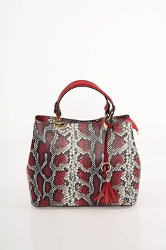 Red bag snake print design short handles