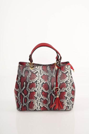 Red bag snake print design short handles