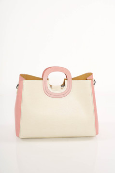 Cream elegant bag natural leather short handles