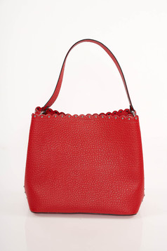 Red office leather bag