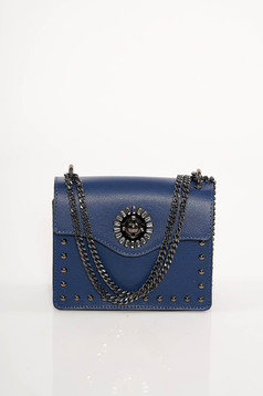 Darkblue bag natural leather with metallic spikes long chain handle leather