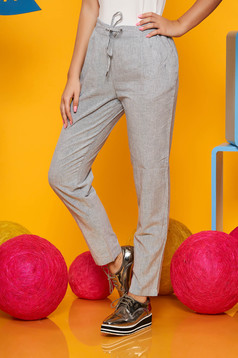 Top Secret blue casual cotton conical trousers with medium waist with pockets