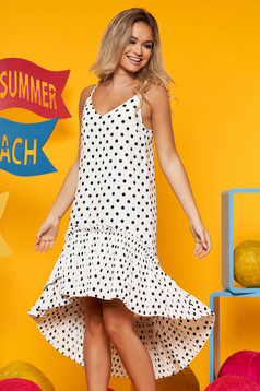 Top Secret white daily asymmetrical flared dress thin fabric with dots print