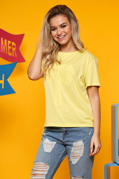 Top Secret yellow casual cotton flared t-shirt short sleeve