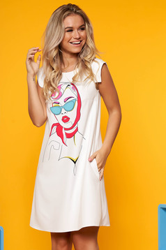 StarShinerS white dress daily short cut with graphic details with pockets a-line