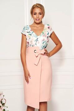 Peach elegant daily pencil dress with v-neckline slightly elastic fabric