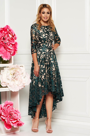 Darkgreen occasional asymmetrical dress with 3/4 sleeves laced with sequin embellished details
