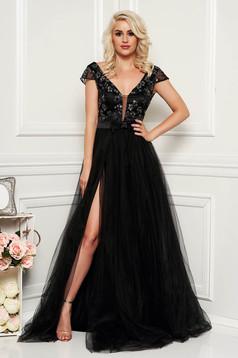 Artista black occasional cloche dress laced and tulle with push-up cups bare back