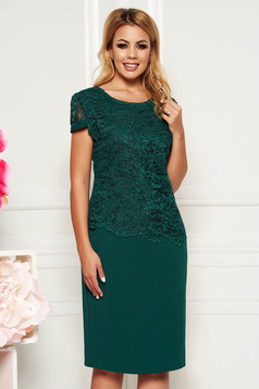 Darkgreen elegant dress with tented cut short sleeve thin fabric lace overlay