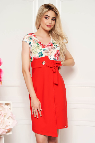 Coral elegant daily pencil dress with v-neckline slightly elastic fabric