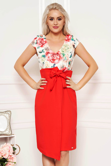 Coral elegant daily pencil dress with v-neckline slightly elastic fabric