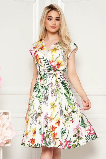 White daily cloche dress elastic waist with v-neckline from satin fabric texture with floral prints