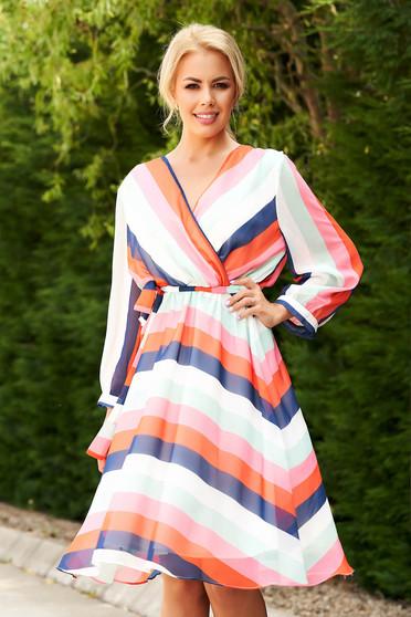 Coral daily cloche dress from veil fabric long sleeve elastic waist