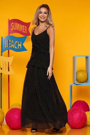 Black dress with v-neckline with dots print voile fabric