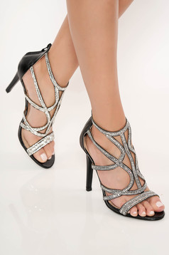 Black sandals with high heels with crystal embellished details occasional zipper fastening