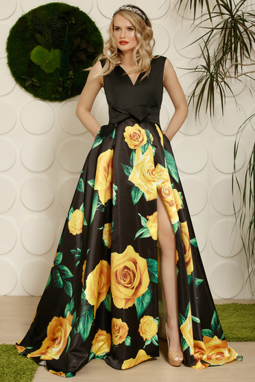 PrettyGirl black occasional cloche dress from satin fabric texture with floral prints accessorized with tied waistband