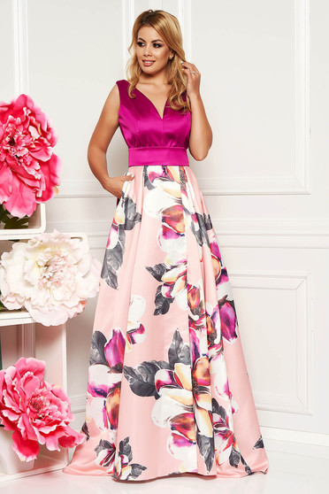 PrettyGirl lightpink occasional cloche dress from satin fabric texture with floral prints accessorized with tied waistband