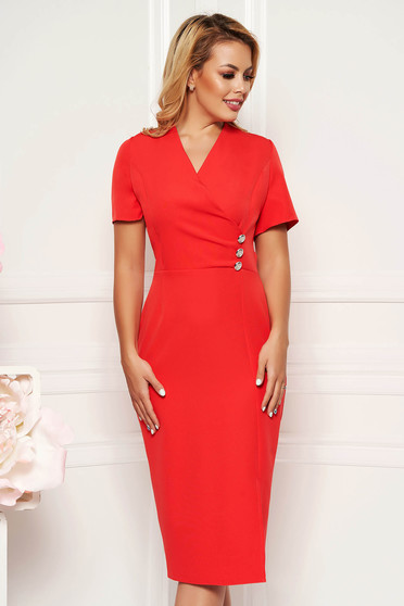 Coral elegant daily midi dress arched cut with a cleavage soft fabric