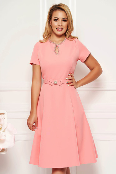 039eafb70a Pink elegant cloche dress soft fabric handmade details accessorized with  belt