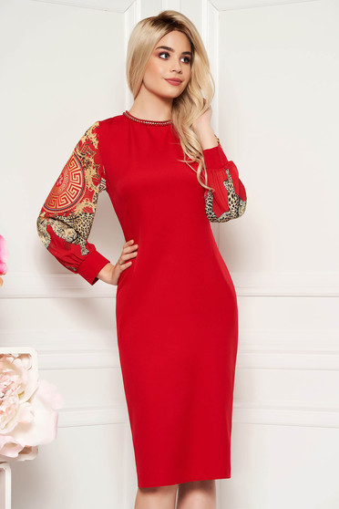 Red occasional dress with tented cut transparent sleeves with small beads embellished details