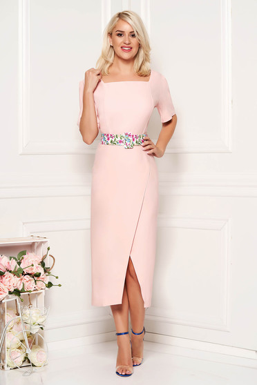 Lightpink elegant daily midi dress arched cut slightly elastic fabric accessorized with belt
