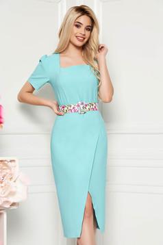Aqua elegant daily midi dress arched cut slightly elastic fabric accessorized with belt